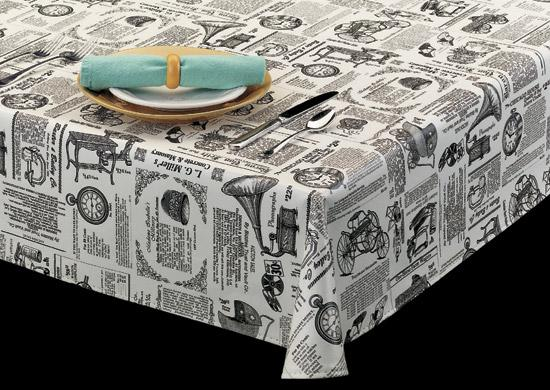 Heavy Duty Vinyl Tablecloth W Flannel Backing Newspaper Theme Print Maine Supply Company