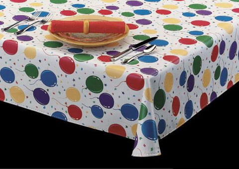 Durable Vinyl Tablecloth w/ Flannel Backing, Celebration Party/Birthday Style, S9827