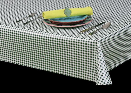 "Heavy Duty Mini Checkerboard 1/4"" Squares Series Vinyl Tablecloth Rolls w/ Flannel Backing, S9828"