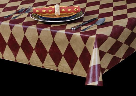 Durable Vinyl Tablecloth w/ Flannel Backing, Dressed Up in Diamonds Series, 5 Colors, S9829