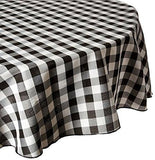 black/white poly check linen tablecloth