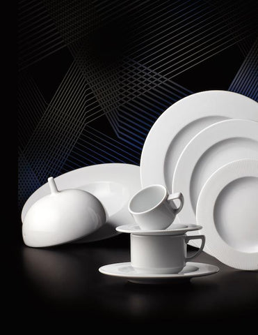 Raio Bright White Porcelain Dinnerware Collection