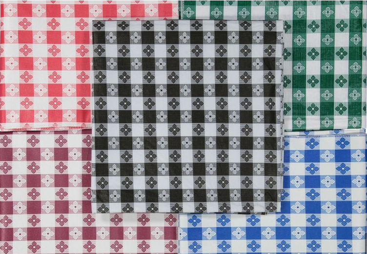 Tavern Check Flannel Back Fitted Vinyl Round Tablecloth