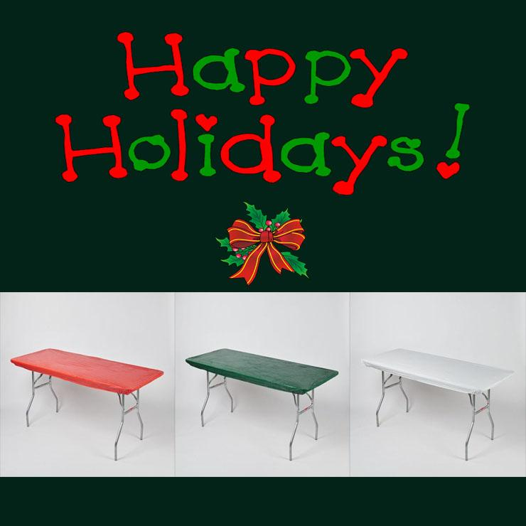Holiday/Christmas Pack Fitted Plastic Table Cover