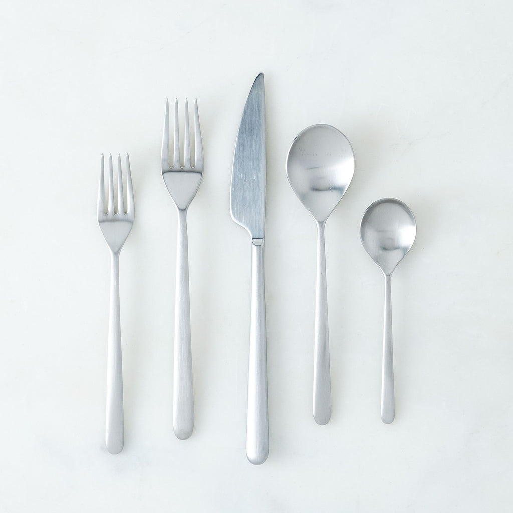 Linea Ice Brushed Finish Flatware Set, Mepra