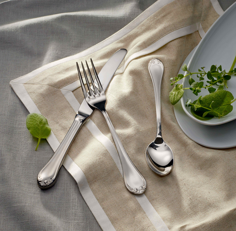 Odeon Mirror Finish Stainless Steel Flatware, Corby Hall
