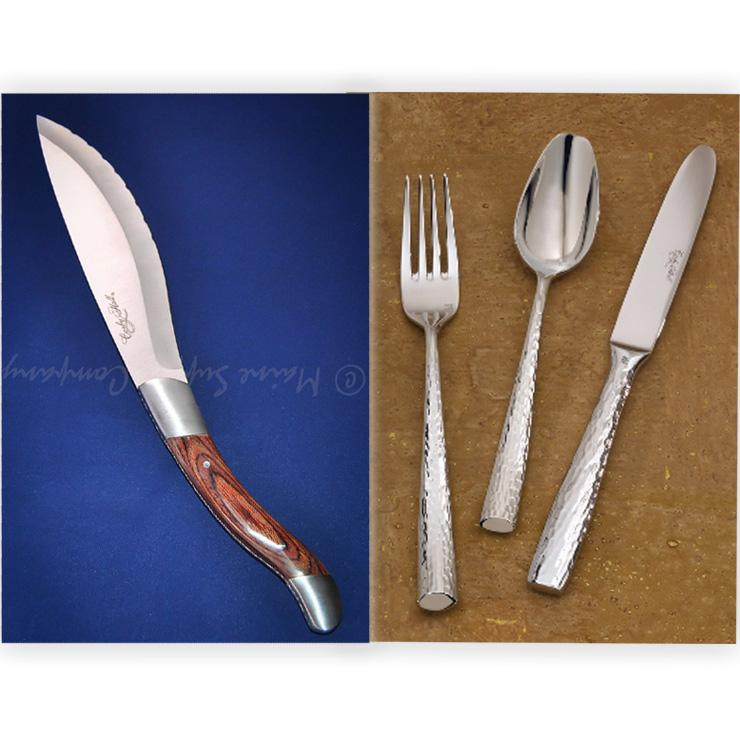 Santa Fe Premium Flatware Set w/ Tomahawk Steak Knife Set Combo for 12