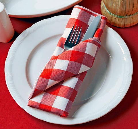 "Checkpoint 1"" Gingham Check Linen Napkin 2 Dz. Pack"