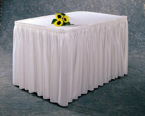 Shirred Table Skirting With Wyndham Fabric Shirred Table Skirting With  Wyndham Fabric