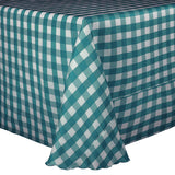 green/white poly check linen tablecloth