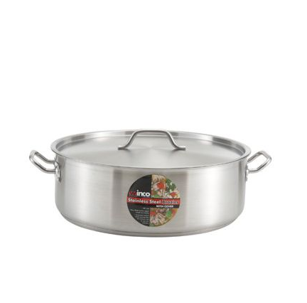 "Winco SSLB-10 10 Qt. 11.69"" x 5.5"" Stainless Steel Brazier with Cover and Tri-Ply Bottom"