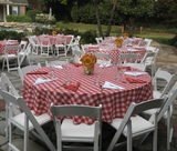 red/white poly check linen tablecloth