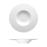 Saturno Bright White Porcelain Deep Plate 11 3/8""