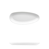 "Saturno Bright White Porcelain Short Plate 9 1/2"" x 4 5/8"""