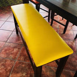 reupholstered bench w/ yellow flexa marine grade restaurant vinyl