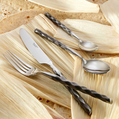 Laredo 18/10 Forged Stainless Steel Flatware, Antique Finish, Contemporary Style, Corby Hall, 5300
