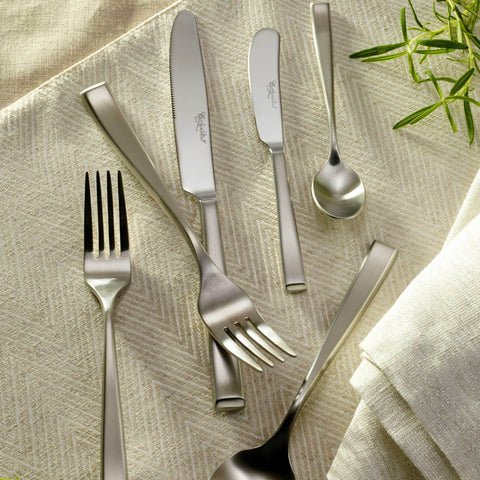 Oslo Satin/Matte Finish Stainless Steel Premium Flatware Collection,  Corby Hall