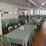 Green Gingham Check Vinyl Tablcloths at Capon Springs and Farms Family Resort