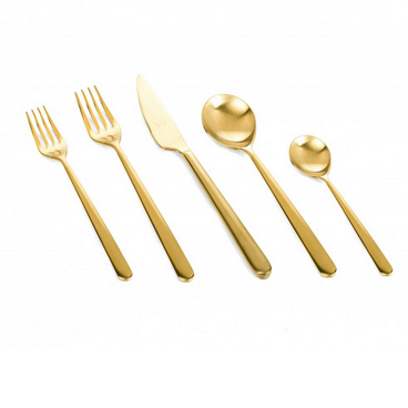 Linea Ice Oro 40-Pieces Gold Finish Flatware Set for 8, Mepra