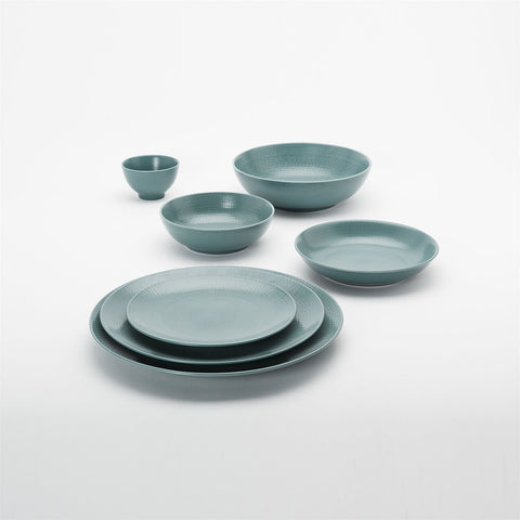 Degrenne 72-Piece Stone Dinnerware Set for 12 - Modulo Nature Blue (Bleu Galet)