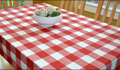 Premier Red & White Check Linen Tablecloth 3 Dz.