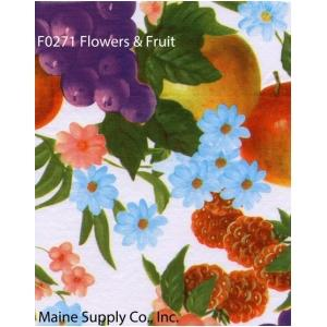 Restaurant Quality Flowers & Fruit Vinyl Tablecloth Roll, F0271