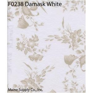 Restaurant Quality Damask White Vinyl Tablecloth Roll, F0238