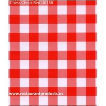 Restaurant Quality Red Chess Check Vinyl Tablecloth Roll w/o Flannel Backing, U0158