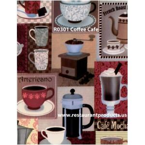 Heavyweight Coffee Cafe Print Vinyl Tablecloth Roll, R0301
