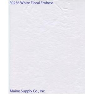 Restaurant Quality White Floral Emboss Vinyl Tablecloth Roll, F0236