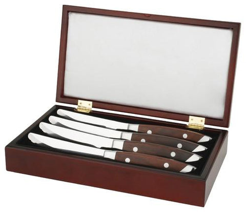Walco 3 Pack of 4 Pc. Premium CHOP Steak Knife in SARATOGA Wooden Gift Box,