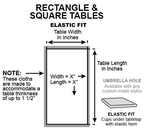How to measure ELASTIC FIT table covers for rectangular and square tables?