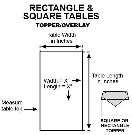 How to measure table toppers rectangular and square tables?