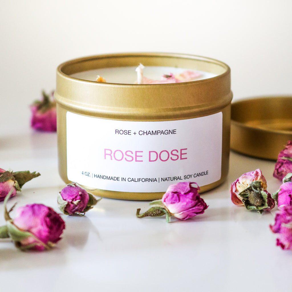 Rose + Champagne Candle 4 oz