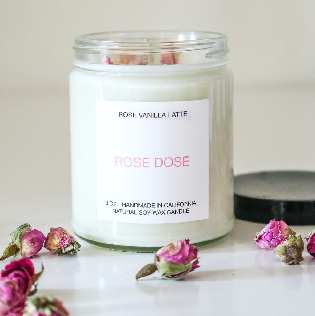 Rose Vanilla Latte Candle 8 oz