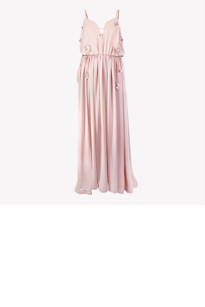 Blush pink maxi dress with modern embellishment