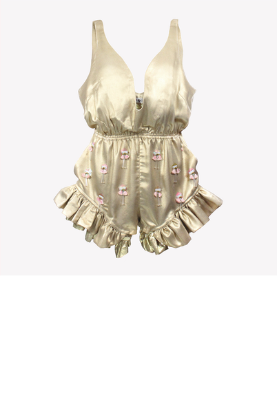 Madison - Gold playsuit with deep neckline, ruffles and tassel embroidery