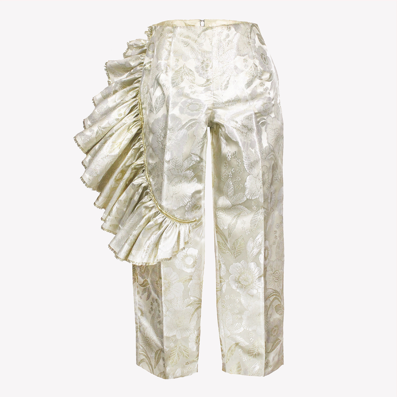 Gold brocade trousers with asymmetric ruffle