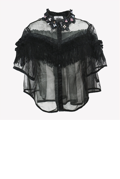 Annabelle - Organza shirt with fringe and ribbon flowers decoration
