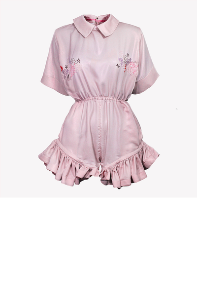 Pink playsuit with collar and colorful embroidery
