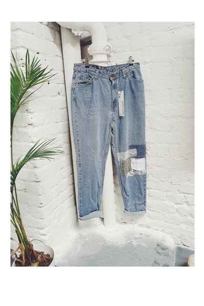 High Wasted Upcycled Embroidery Jeans