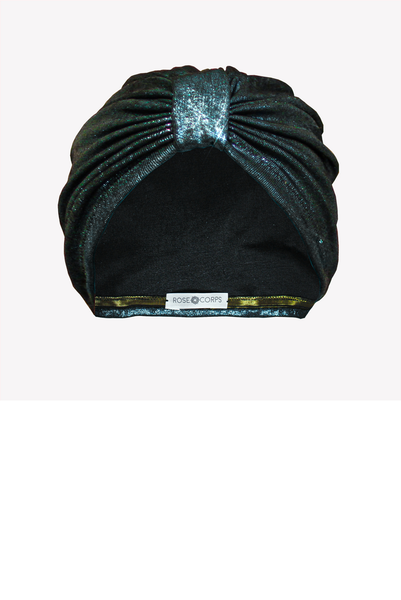 Metallic emerald turban hat