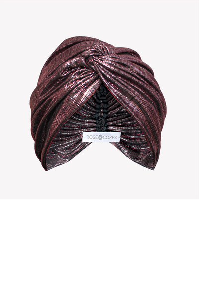 Metallic pink turban with twist