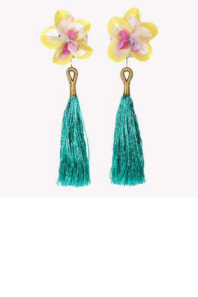 Large statement earrings with sequin flowers and tassels