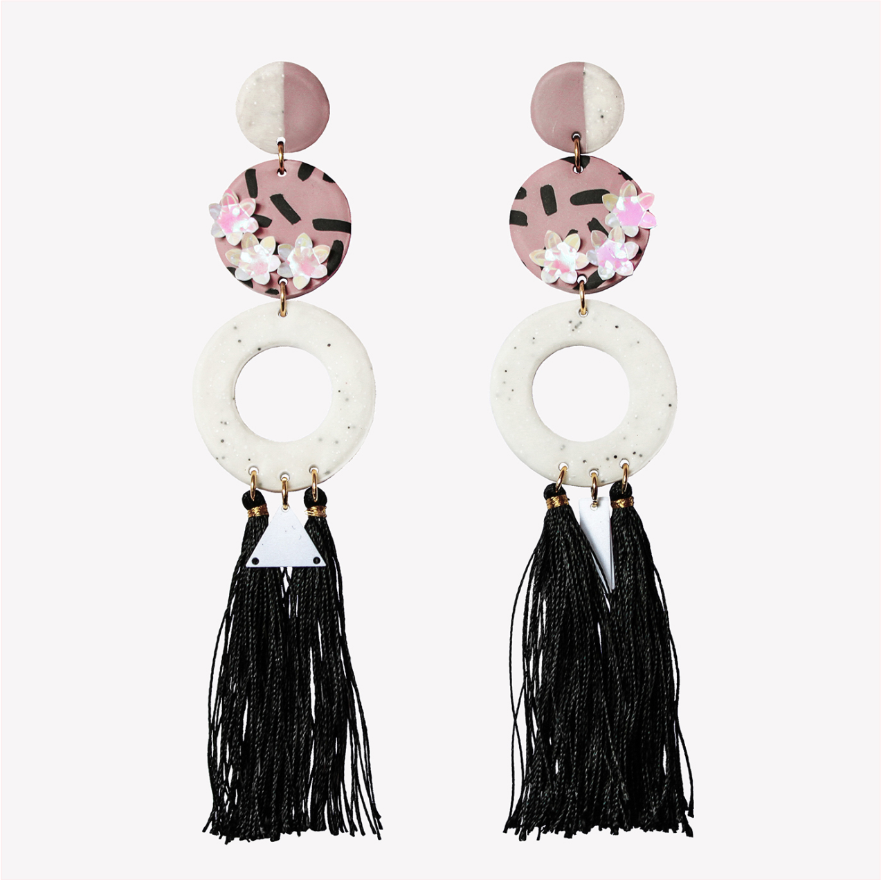 Long tassel fimo earrings with sequin flowers