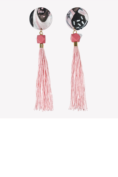 Pink tassel earrings with geometric bead and large fimo base
