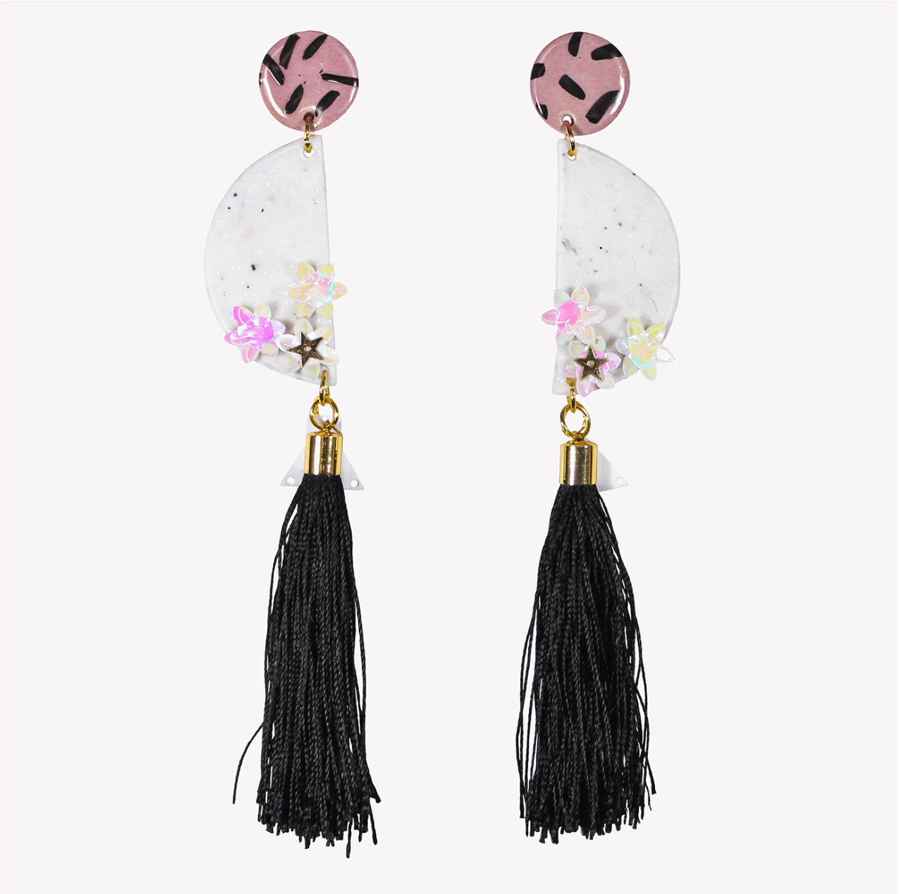 Long half circle earrings with black tassels and sequins
