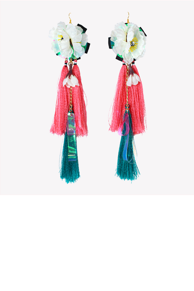 Tassel statement earrings with artificial flowers
