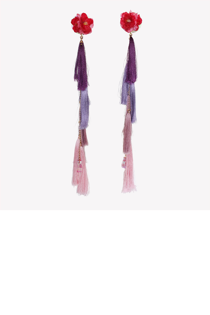 Maxi ombre tassel earrings with artificial flowers