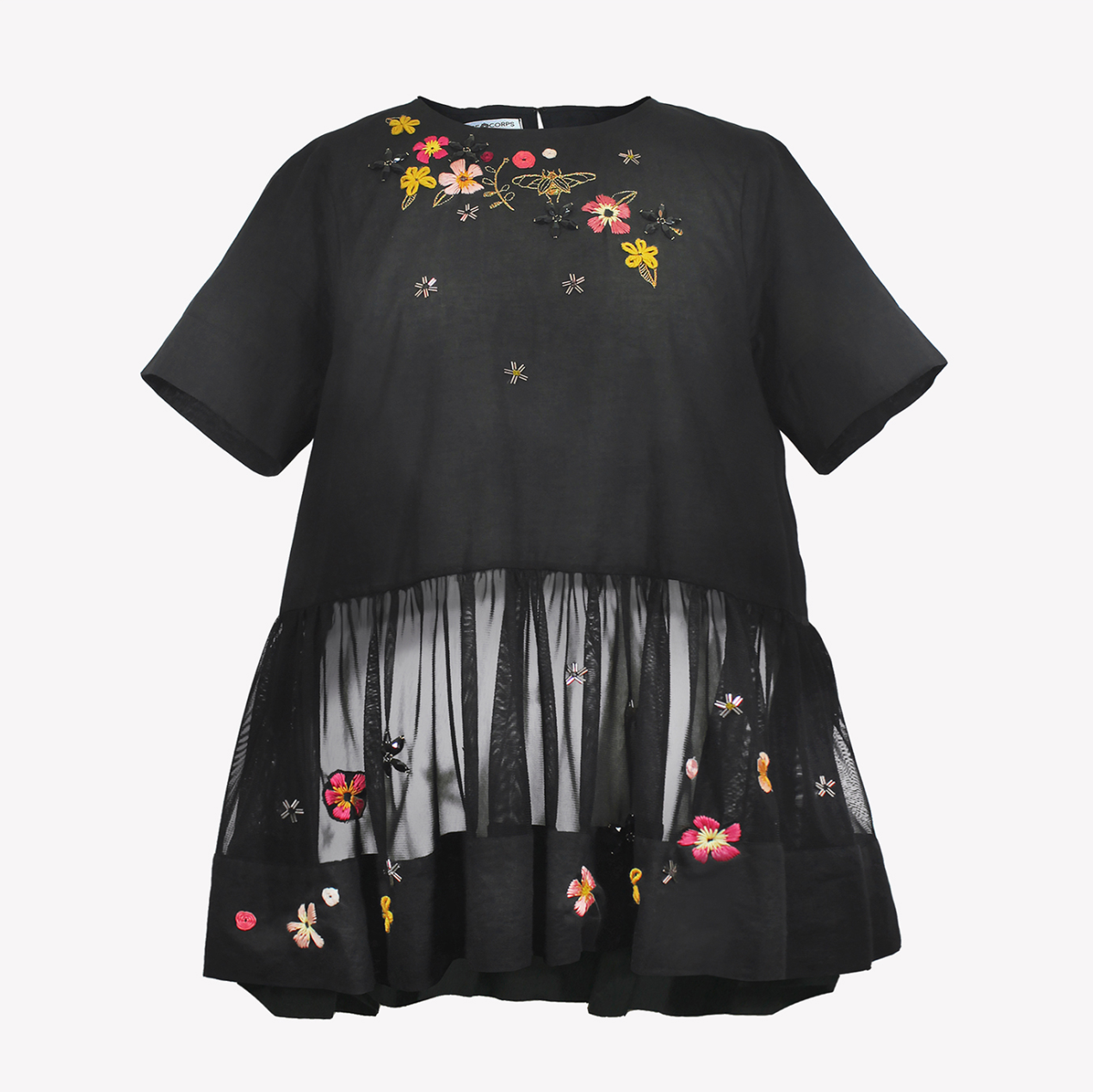 Top with tulle basquine and floral embroidery